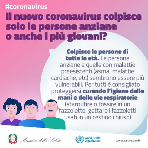 Il nuovo coronavirus colpisce solo le persone anziane o anche i più giovani?